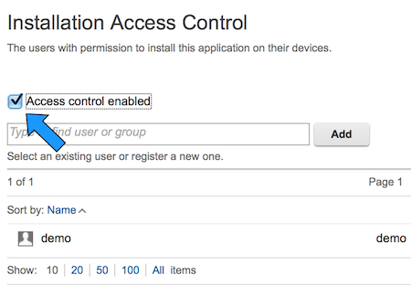 Image of access control in app center
