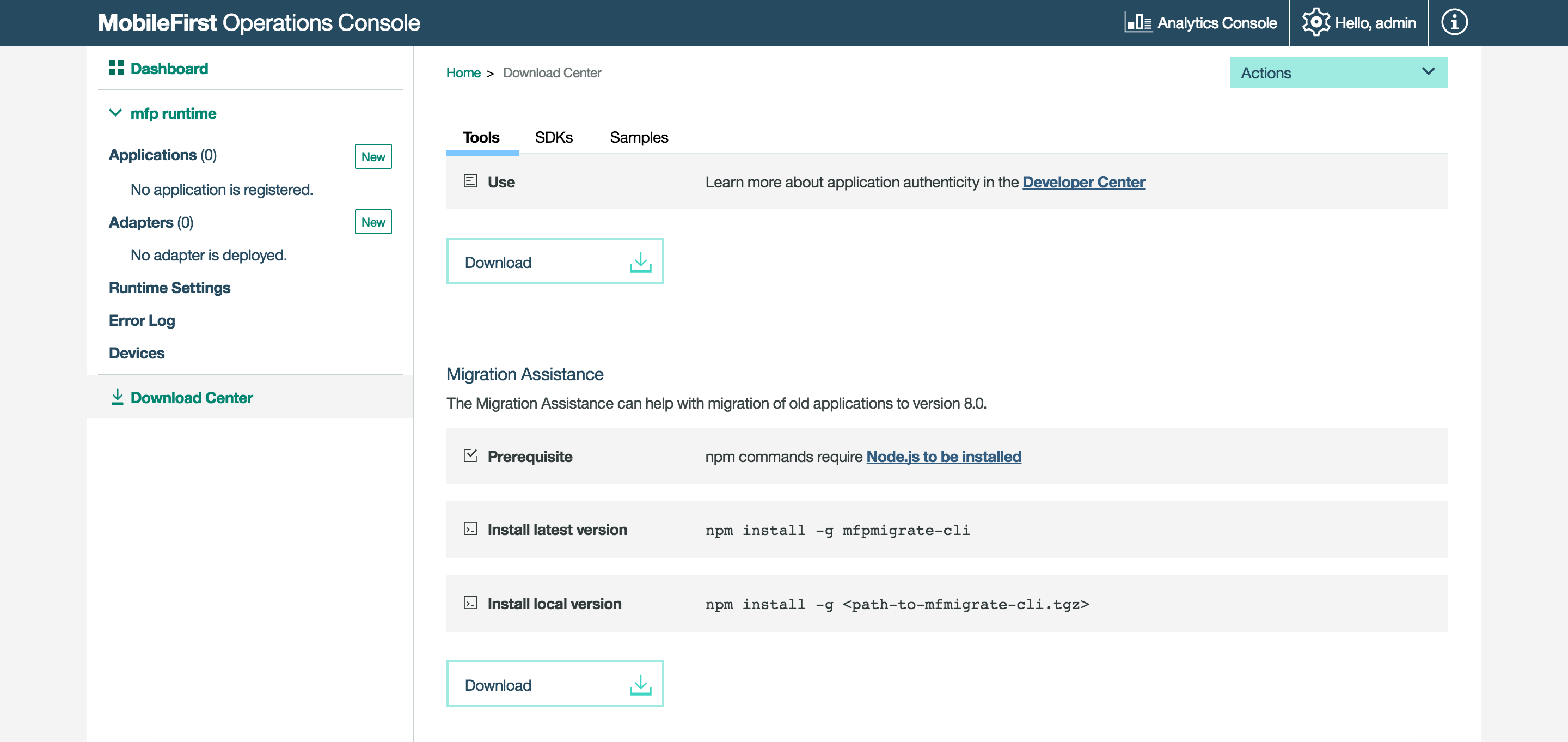 Download the migration tool from the MobileFirst Operations Console