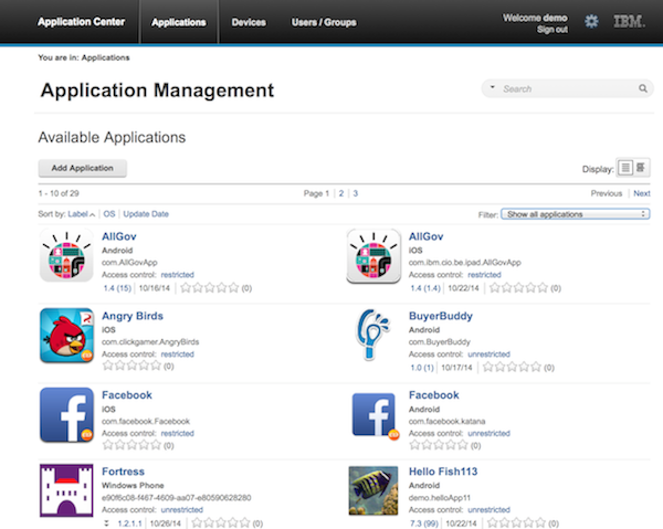 Distributing mobile applications with IBM Application Center