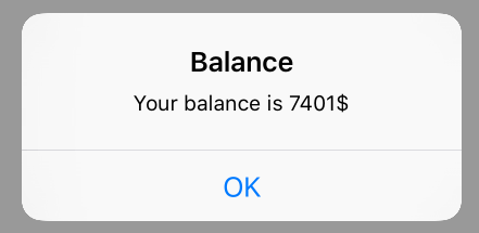 Image of balance result in iPhone app