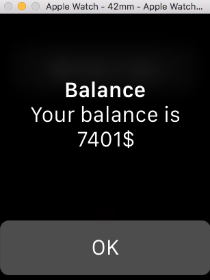 Image of balance result in watch app