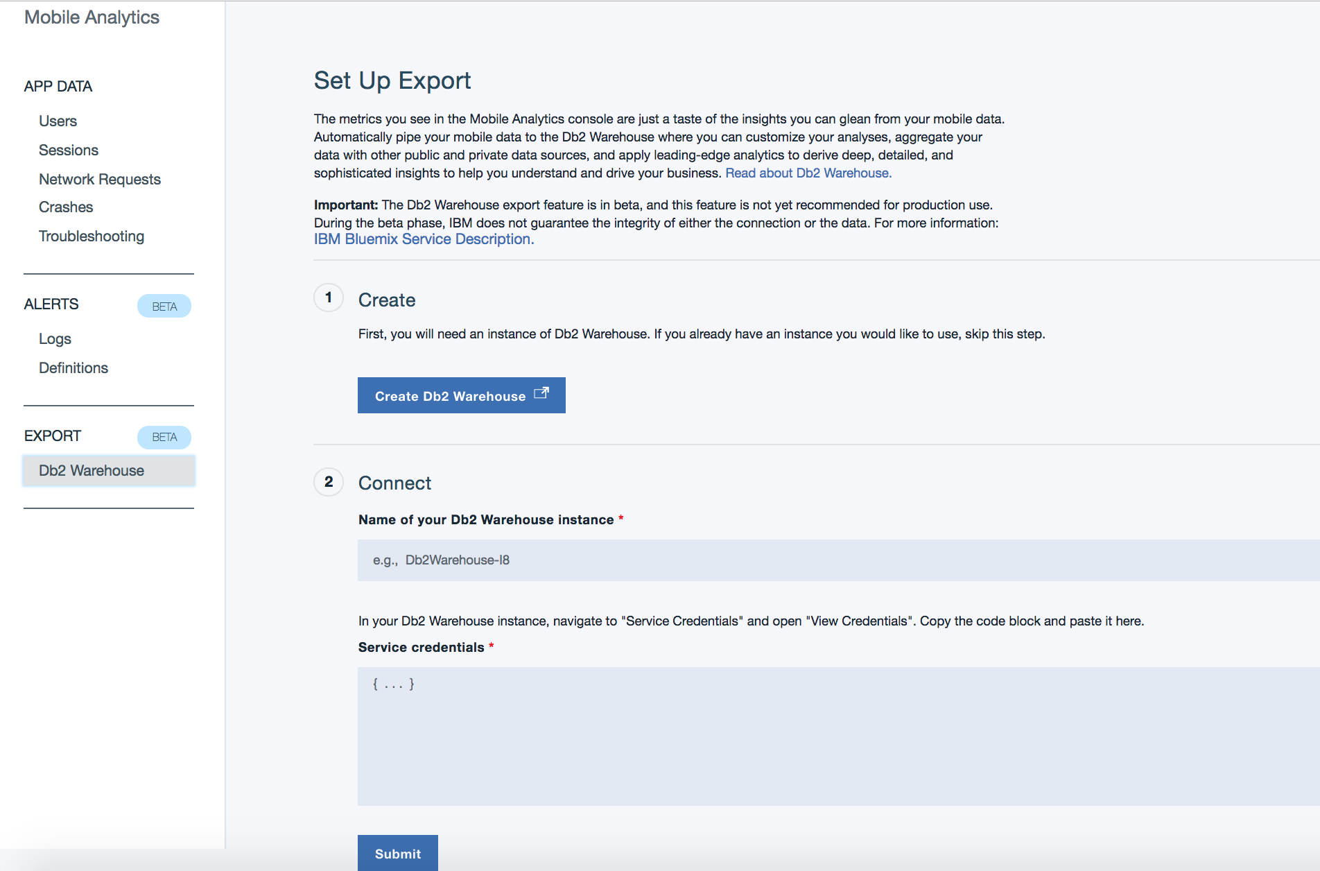Db2 Warehouse Export page