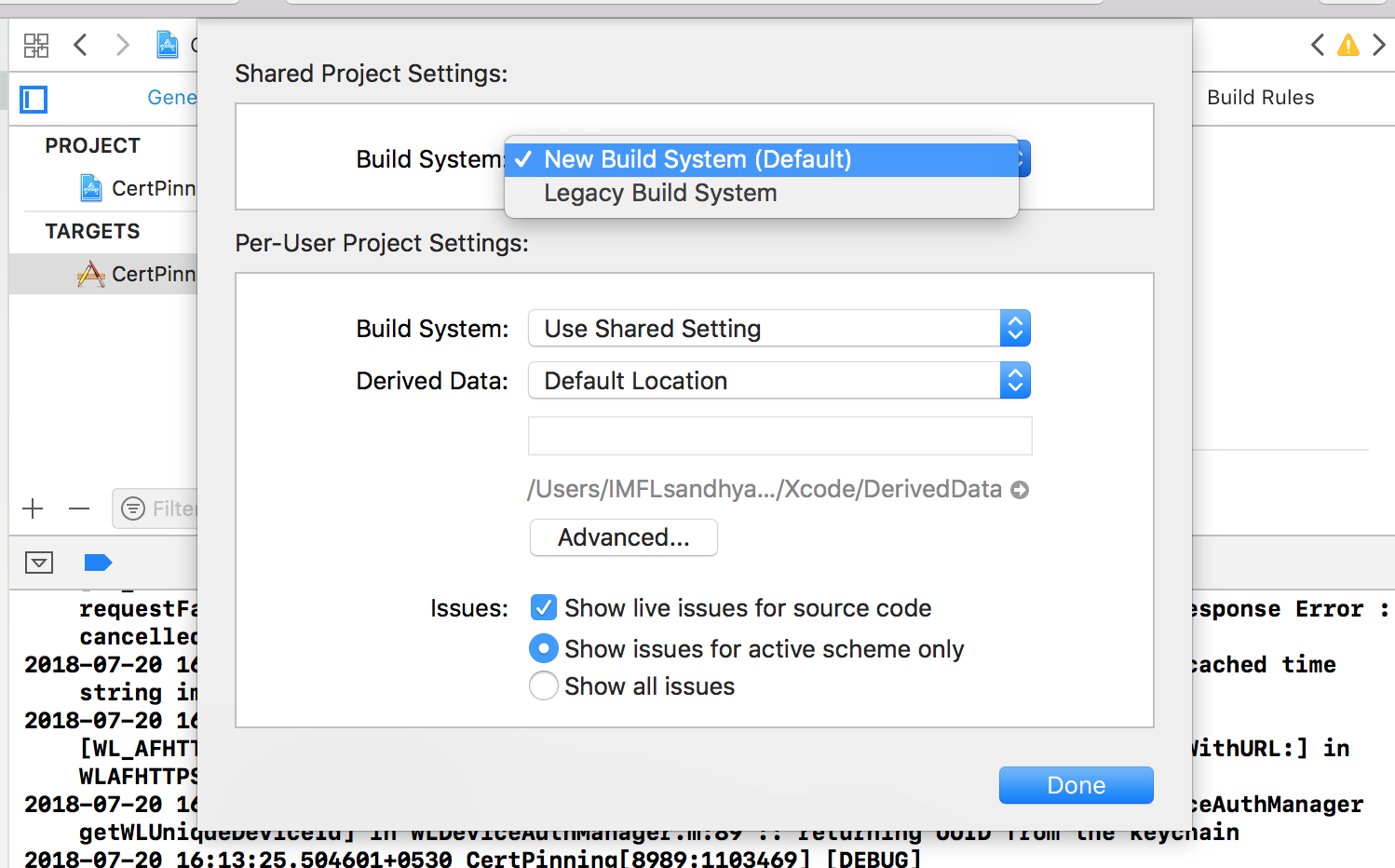 Xcode10 Legacy build system settings