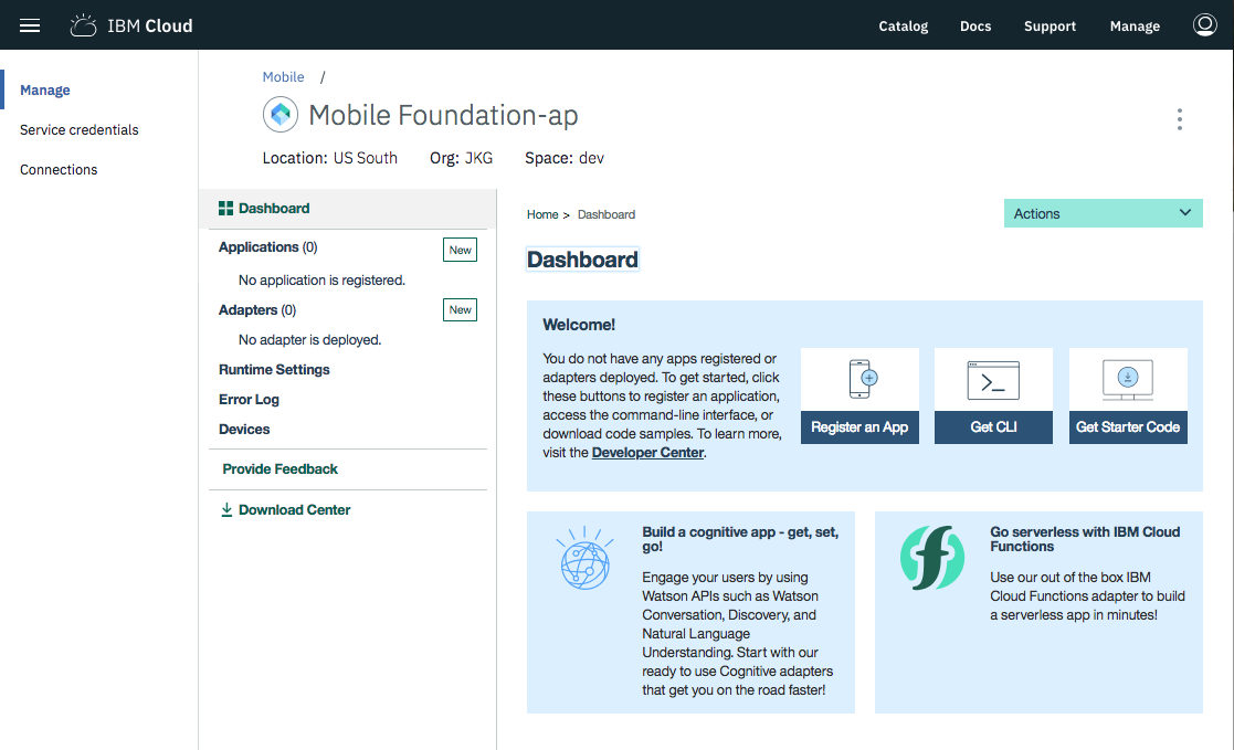 Mobile Foundation Console