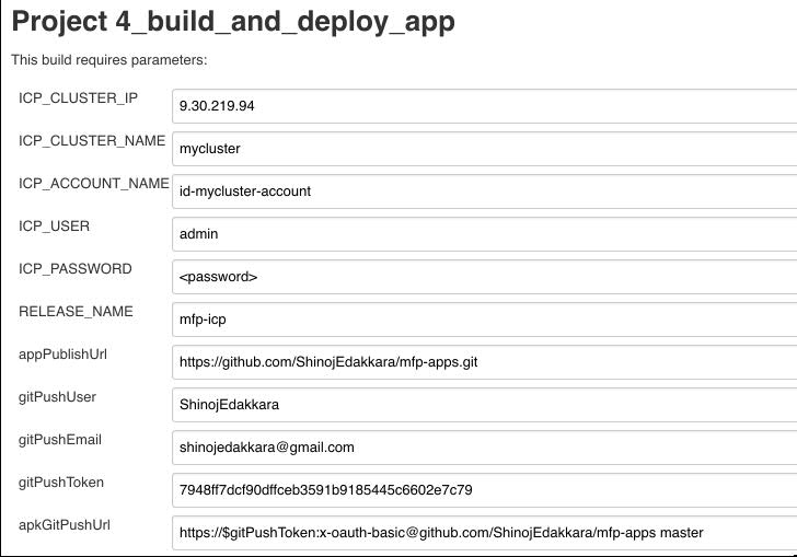 Build And Deploy Apps Job Parameters