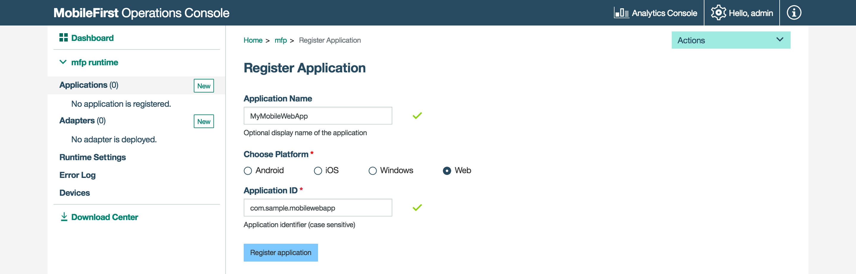 Adding the MobileFirst Foundation SDK to Web Applications