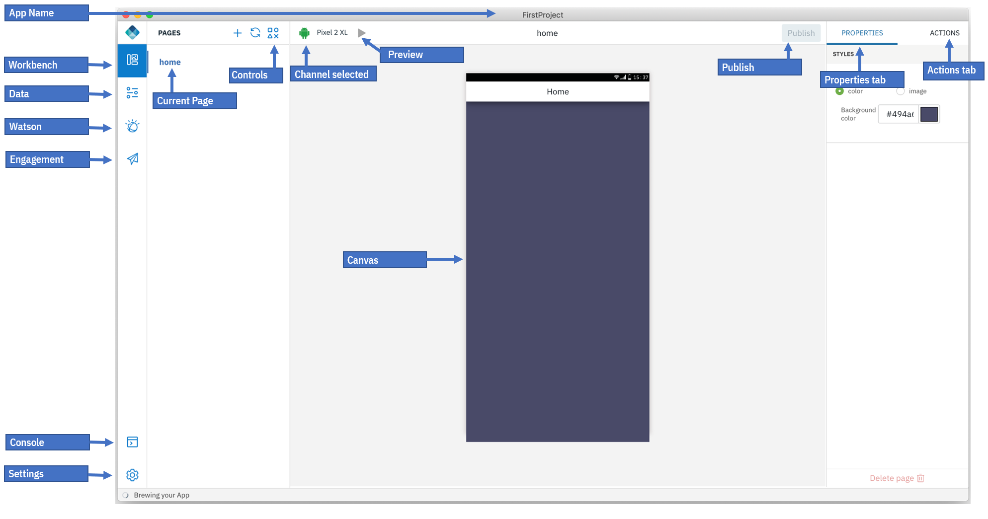 Digital App Builder interface - IBM Mobile Foundation Developer Center