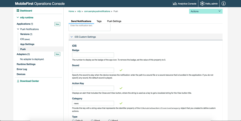 Interactive notifications - IBM Mobile Foundation Developer