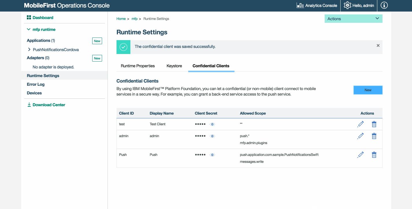 Confidential Clients - IBM Mobile Foundation Developer Center
